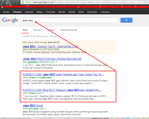 posisi website di halaman Google