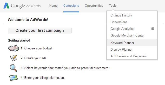 Cara memilih keyword seo - Google Keyword Planner 1